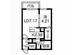 エフェクト南11条 A棟(旧名称:仮)南11条西8丁目MS A棟) 2階1LDKの間取り