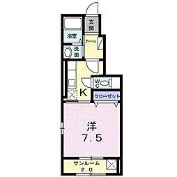 富山県富山市本郷町水上割の賃貸アパートの間取り