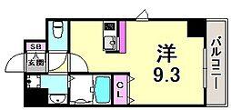ライジングコート三宮マリーナシティ 7階ワンルームの間取り