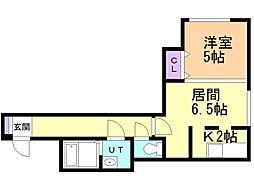 E−horizon美園II 3階1DKの間取り