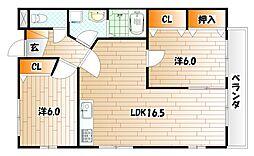 ボヌール守恒II[2階]の間取り