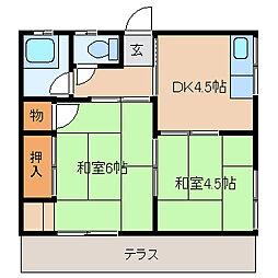 丸源荘[102号室]の間取り