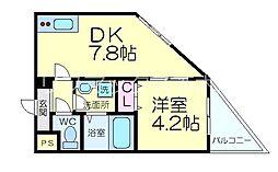 JR東海道・山陽本線 茨木駅 徒歩18分の賃貸マンション 1階1DKの間取り