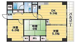 さんさん吉田[4階]の間取り