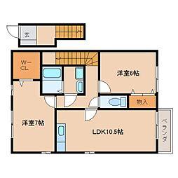 近鉄天理線 天理駅 徒歩13分の賃貸アパート 2階2LDKの間取り