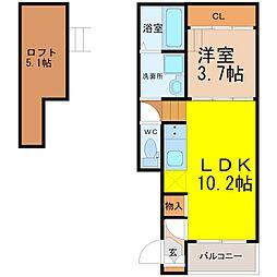 愛知県名古屋市千種区小松町6丁目の賃貸アパートの間取り