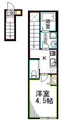 JR総武線 西荻窪駅 徒歩8分の賃貸マンション 2階1Kの間取り