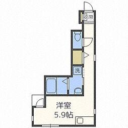 プチ・パール吉塚駅前 3階ワンルームの間取り