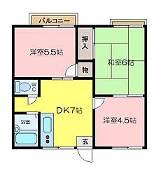 ニューハイムハラ2号[2階]の間取り
