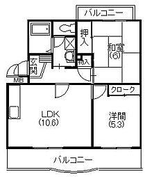 メディオ初生弐番館[3階]の間取り