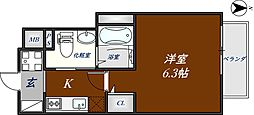 近鉄奈良線 河内花園駅 徒歩3分の賃貸マンション 3階1Kの間取り