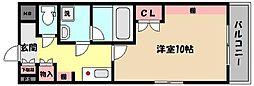 阪神本線 御影駅 徒歩9分の賃貸マンション 3階1Kの間取り