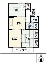 セジュール中島[2階]の間取り
