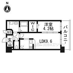 京都市営烏丸線 十条駅 徒歩5分の賃貸マンション 4階1DKの間取り