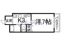 京都府京都市下京区悪王子町の賃貸マンションの間取り