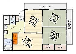 大阪府堺市西区上の賃貸マンションの間取り