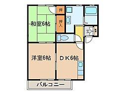 グリーンヒルII A棟・B棟[1階]の間取り