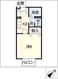 ピアチェーレ D棟[2階]の間取り
