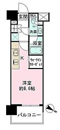 ザ・パークハビオ目黒 9階1Kの間取り