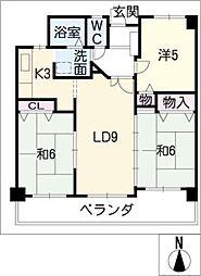第3北浜田マンション402号室[4階]の間取り
