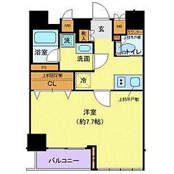 都営大江戸線 牛込柳町駅 徒歩2分の賃貸マンション 7階1Kの間取り