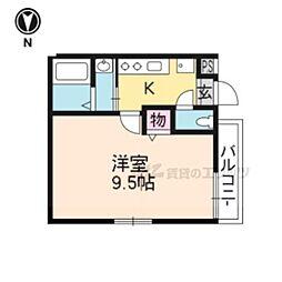 京洛マンション 2階1Kの間取り