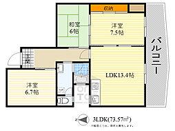 上野坂グリーン2 2階3LDKの間取り
