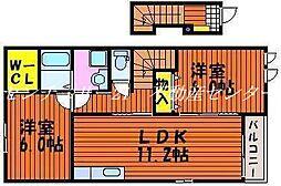 岡山県赤磐市熊崎の賃貸アパートの間取り