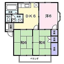 シティハイツ名田2[201 号室号室]の間取り