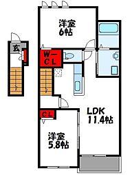 西鉄貝塚線 三苫駅 徒歩11分の賃貸アパート 2階2LDKの間取り