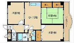 大阪府八尾市東山本町8丁目の賃貸マンションの間取り