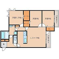 奈良県奈良市大森町の賃貸アパートの間取り