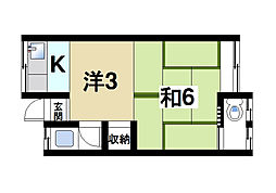 奈良県奈良市二条大路南4丁目の賃貸アパートの間取り