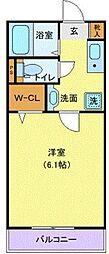 小田急江ノ島線 湘南台駅 徒歩6分の賃貸マンション 3階1Kの間取り