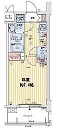 レオンヴァリエ大阪ベイシティ 3階1Kの間取り