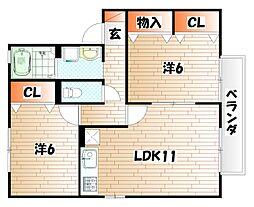サニーフラット若園 D棟[2階]の間取り