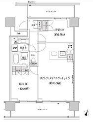 パークハビオ渋谷本町レジデンス 9階2LDKの間取り