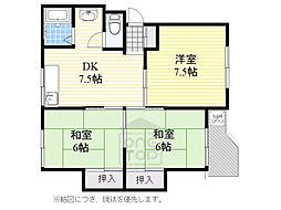 北大阪急行電鉄 緑地公園駅 徒歩9分の賃貸マンション 4階3DKの間取り
