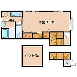 奈良県天理市川原城町の賃貸アパートの間取り