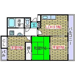 大阪府高槻市上土室1丁目の賃貸マンションの間取り