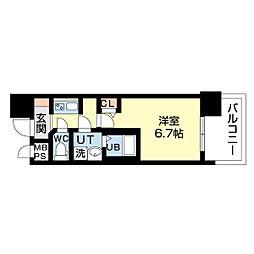 名古屋市営鶴舞線 上前津駅 徒歩5分の賃貸マンション 6階1Kの間取り
