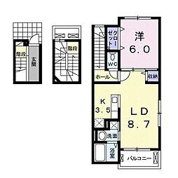 岡山県岡山市中区東山4丁目の賃貸アパートの間取り