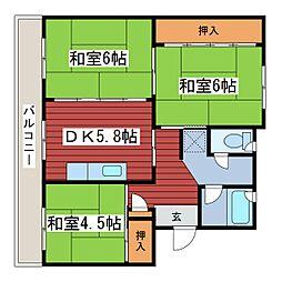 福住タウン2[3階]の間取り