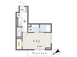 JR総武線 東船橋駅 徒歩7分の賃貸アパート 1階1Kの間取り