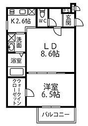 南海高野線 北野田駅 徒歩15分の賃貸アパート 2階1LDKの間取り