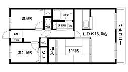 ライオンズマンション西宮高座C棟[402号室]の間取り