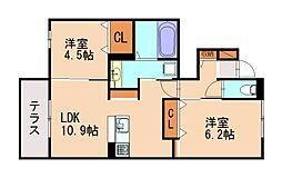 JR篠栗線 篠栗駅 徒歩12分の賃貸アパート 1階2LDKの間取り