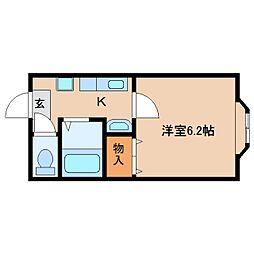 奈良県天理市丹波市町の賃貸マンションの間取り