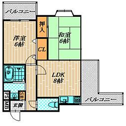 グランピア稲津[4階]の間取り