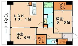 福岡県飯塚市花瀬の賃貸マンションの間取り
